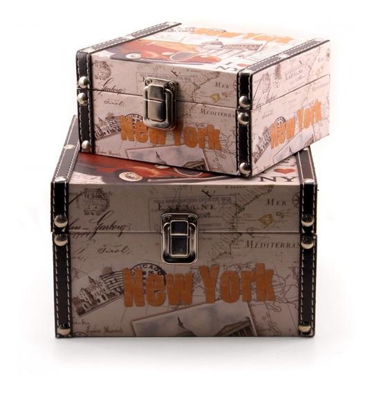 Jg Com 2 Baús Porta Objetos New York - Wj021-car-m F1b