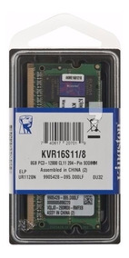 Memoria 8gb Ddr3 Note 1600mhz Kingston Modelo Kvr16ls11