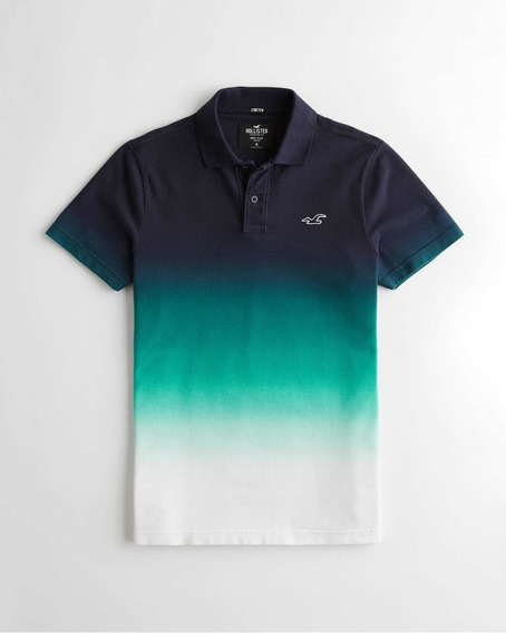 Polo Hollister Sombreado Marino - Verde