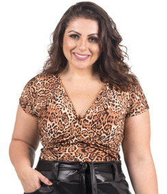 Body Plus Size Oncinha Animal Print Estampa Onça