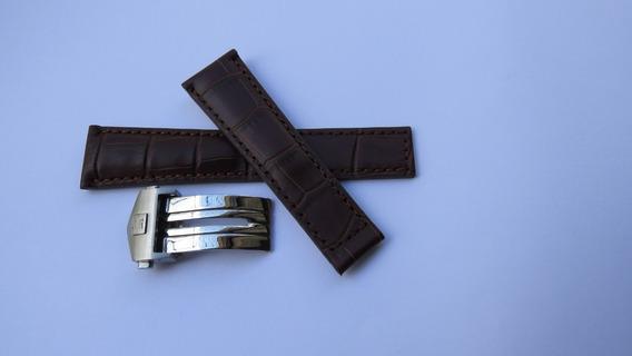 Pulseira P/ Tag 22mm C/ Fecho Deplayant Couro Marrom Pemium