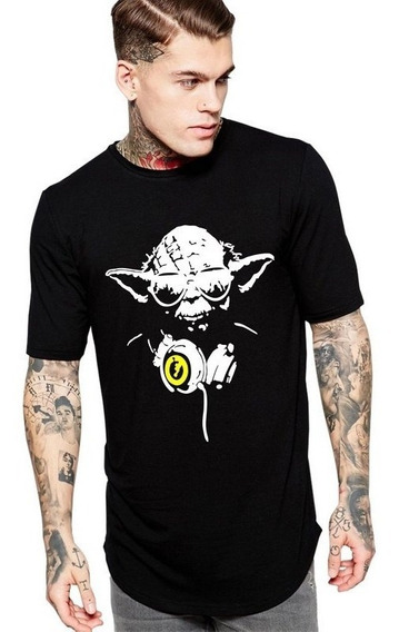 Camiseta Long Line Oversized Masc Mestre Yoda Star War Dj