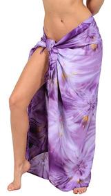Pareo Largo Tie Dye - Con Botón De Coco E Instructivo