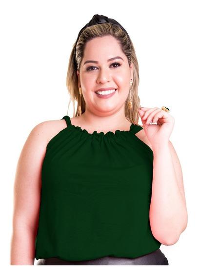 Roupa Feminina Plus Size Blusa Regata Com Alça Ajustável