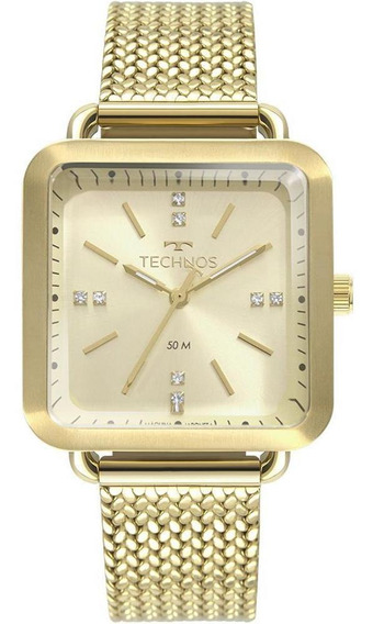 Relógio Feminino Dourado Technos Fashion Quadrado