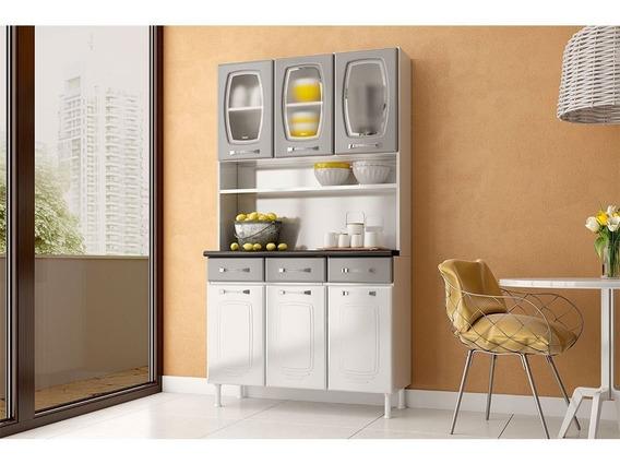 Conjunto Cozinha 3 Portas Vidro 3 Gavetas Telasul Novita