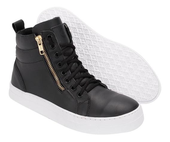 Bota Sneaker Feminina Em Couro Treino Fitness Selten