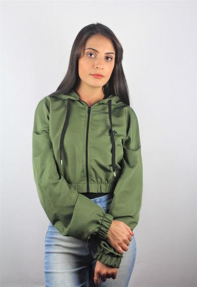 Jaqueta Cropped Tactel Verde Militar Tecido Leve Moda Tumblr