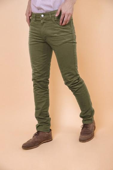 Pantalones De Gabardina Elastizado Con Bolsillo Convencional
