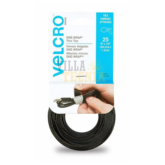 Correas Velcro Precortadas 25 Pzas -negro Ajustables 5pack