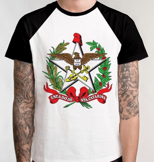 Camiseta Raglan Blusa Unissex Camisa Brasão Santa Catarina