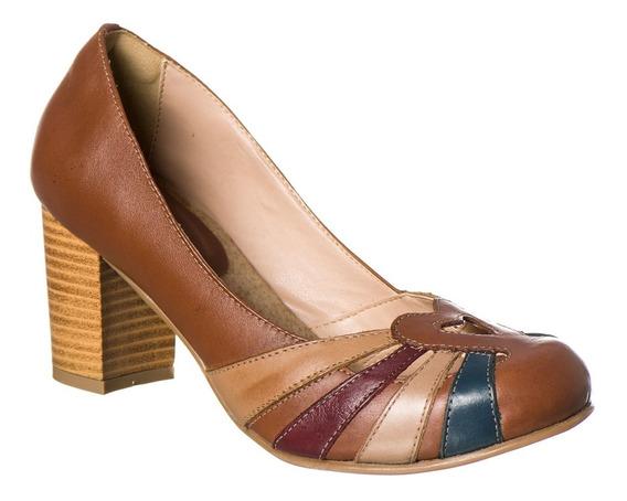 Sapato Boneca Retro Malbork Em Couro Marrom Salto 7cm 3184