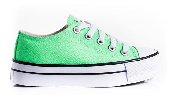 Zapatillas Zapatos Mujer Estilo Converse Lona Plataformas