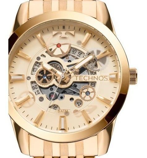 Relógio Masculino Automático Dourado Technos Metal Aço 8205nq/4x Original C/ Estojo
