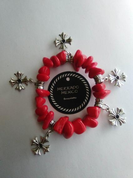 Pulsera Roja Fashion Dijes De Cruz Mujer Moda Tendencia