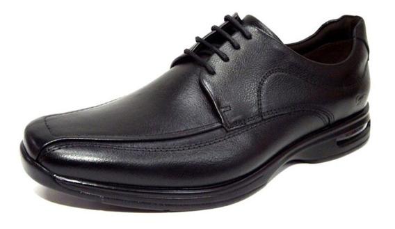 Sapato Masculino Democrata Air De Amarrar Preto Couro - 448026