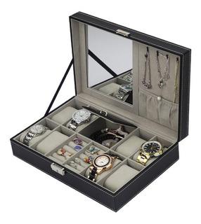 Caja Porta 8 Reloj Organizador Estuche Relojes Anillo Y Joya