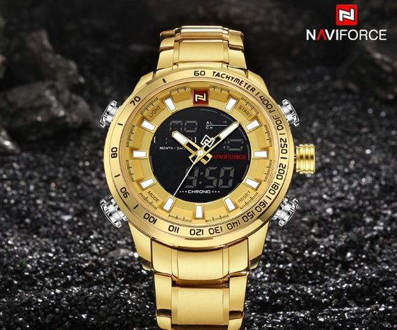 Relógio Masculino Militar Dourado À Prova D