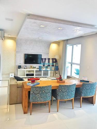 Apartamento Com 3 Suítes Mobiliado E Decorado No Boqueirão Em Santos - Ap00140 - 34457624