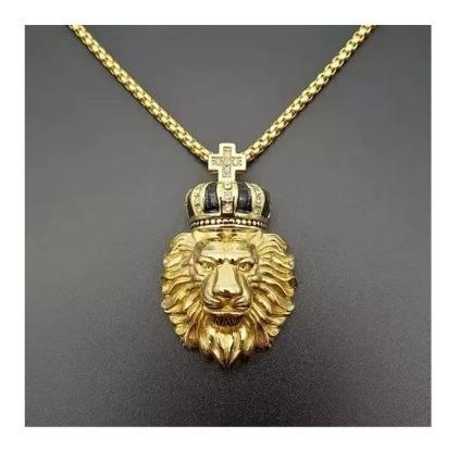 Colar Masculino Titânio Banho Ouro 18k Leão Coroa Ostentação