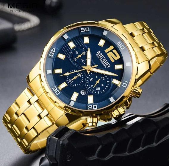 Relógio Megir Original Com Caixa Masculino.