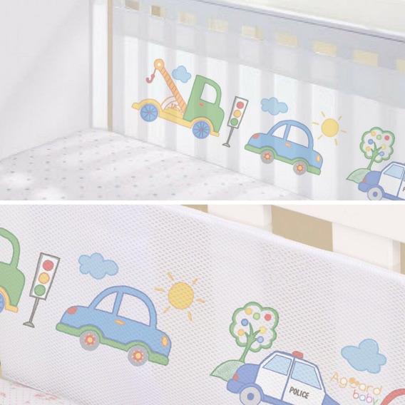Protetor Berço Tela Respirável Bebê Carro Decoracao 2 Lados
