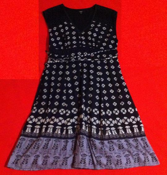 Vestido Color Negro Y Gris, Estampado, Talla L 100 % Algodon