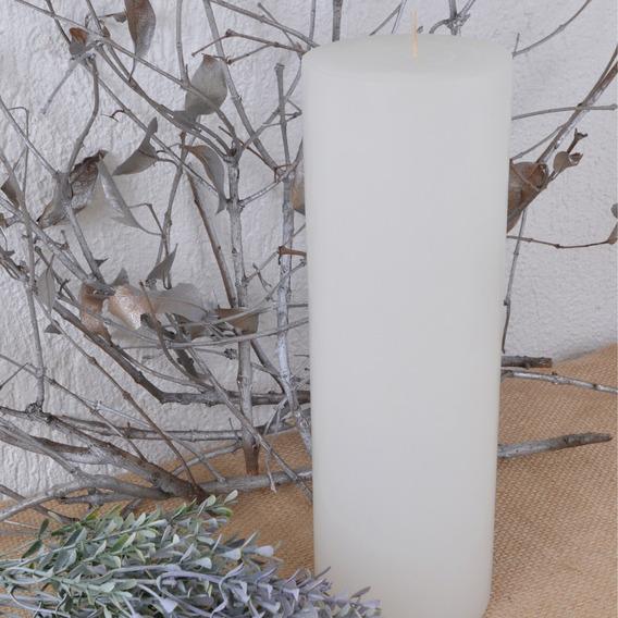 Vela Pilar Cilíndrica Branca Grande 9,5x29cm