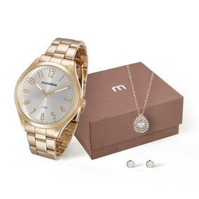 Mondaine Kit Relógio E Conjunto De Semijóias Dourado