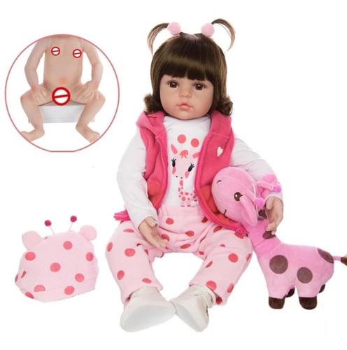 Imagem 1 de 7 de Boneca Bebe Reborn Silicone Girafinha Menina 48cm Realista