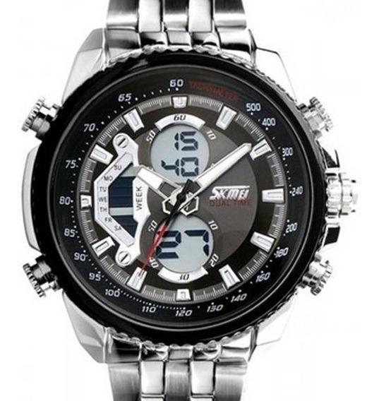 Relógio Masculino Skmei Anadigi 0993 Prata