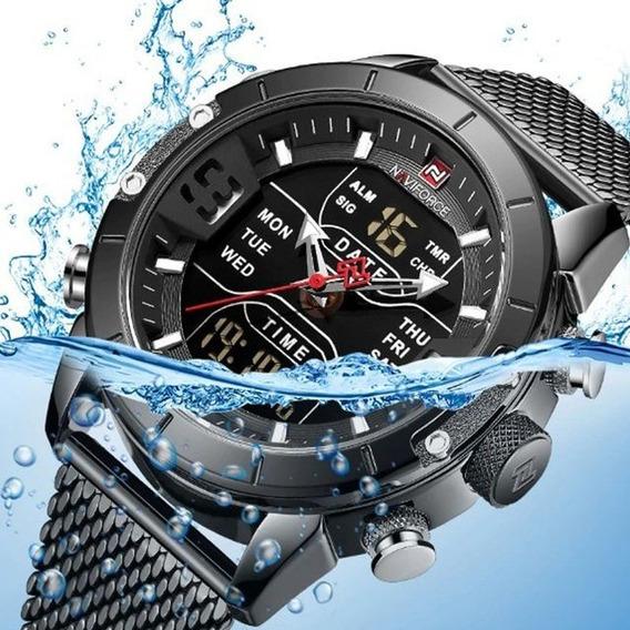 Relógio Digital E Analógico Homem Naviforce Nf9153 + Caixa
