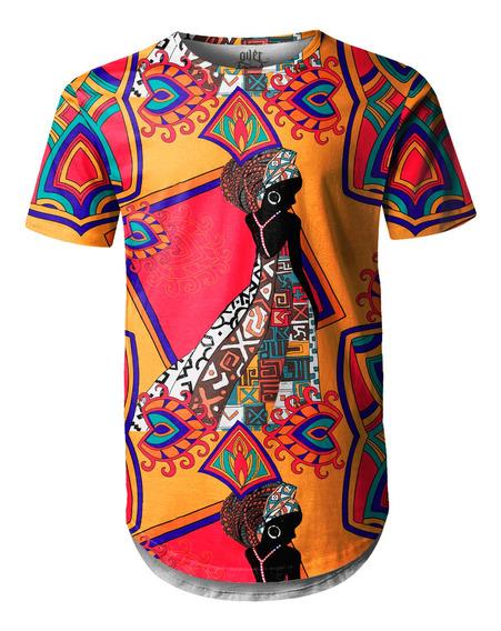 Camiseta Masculina Longline Swag Estampa Africana