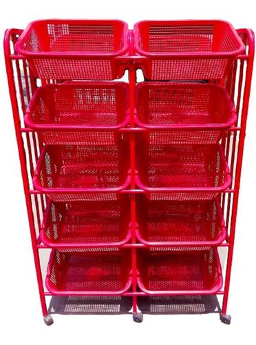 Verdulero Grande Metal Organizador Fruta Verdura 10 Bandejas