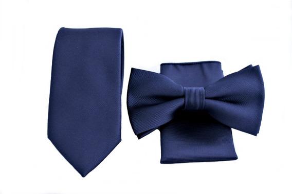 Set Humita (corbatin) + Pañuelo + Corbata Color Azul Marino