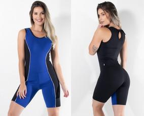 e9e5c2e1c Macacao Feminino Preto Azul Medio Fechado Fitness Academia