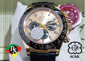 Relógio Daytona 40mm Dourado Borracha Cravejado Cerâmica