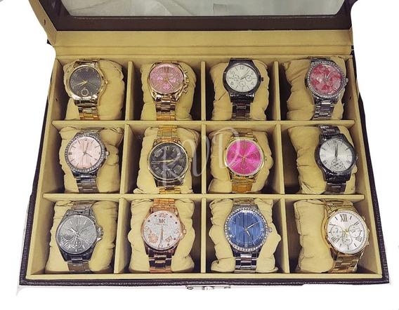 Kit Com 15 Relógios Feminino Variados Atacado + Caixas