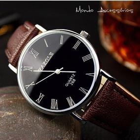Relógio Masculino Unissex Em Aço Inoxidável E Couro + Envio