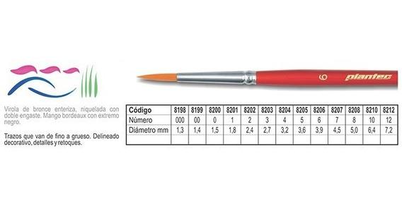 Pincel Plantec Toray Linea 8200 Nº 7 Fibra Sintetica Dorada