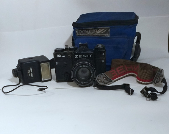 Máquina Fotográfica Antiga Zenit Com Flash E Bolsa Original
