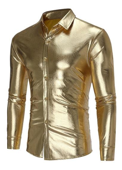 Camisas Casuales Hombres Algodón Poliéster Manga Larga For