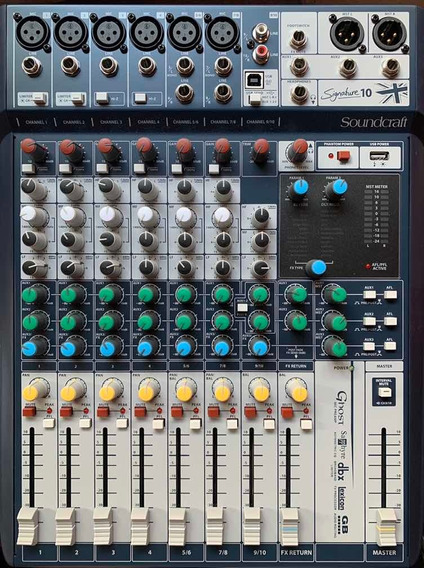Mesa Som Soundcraft Signature 10 Canais Mixer Analógico Usb