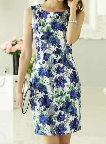 Vestido Azul Floral Talla S Nuevo Importado Envios Olva