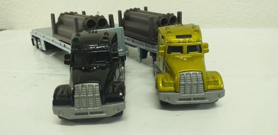 2 Caminhões Escala Ho Usados Matchbox Usados C/ Carga Tubos