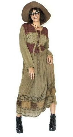 Vestido Indiano Manga Longo Camponesa Inverno Stone
