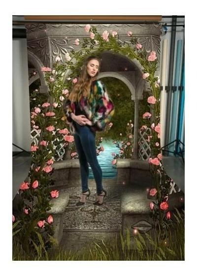 Fundo Fotográfico Flores Rosas Escadaria Newborn 3d 3x1,3