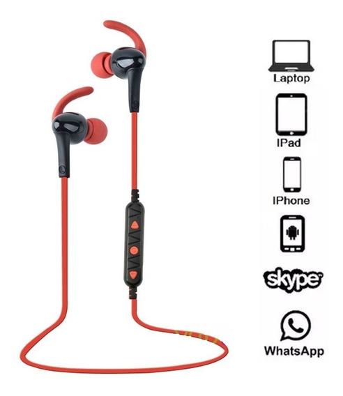 Fone De Ouvido Sport Bluetooth 4.1 Intra Auricular Vermelho