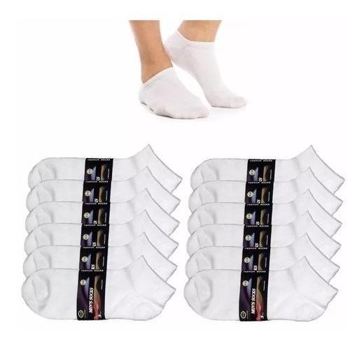 Kit 12 Pares Meias Masculina Soquete Cano Curto Branca 40 Ao 46 Envio Expresso Full 80% Algodão Qualidade