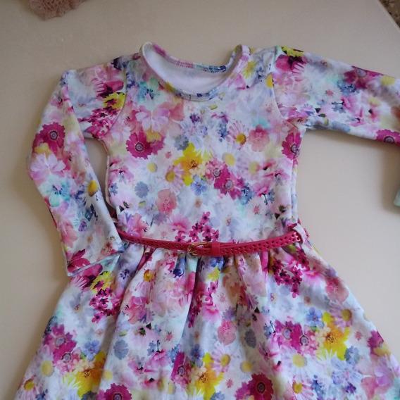 Vestido Infantil Em Moleton Flanelado